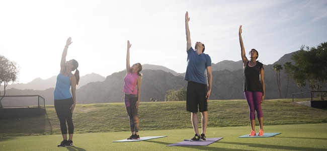 Group of 4 people on yoga mats stretching towards the sky