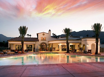 PGA West clubhouse at sunset